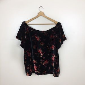 LOFT Tops - [Loft] Crushed Velvet Floral Off the Shoulder Top